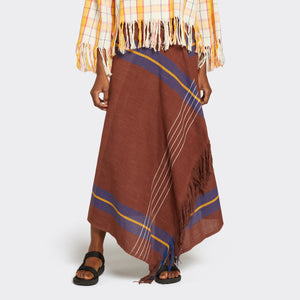 Fringed Kikoi Skirt Brown