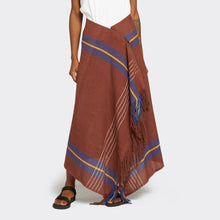 Load image into Gallery viewer, Fringed Kikoi Skirt Brown