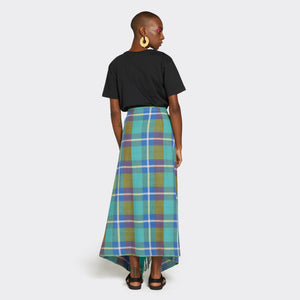Fringed Kikoi Skirt Green & Blue