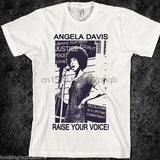 Angela Davis Raise Your Voice T-Shirt - historically black apparel, hbcu,greek,black college,black athletes,black history,divine nine
