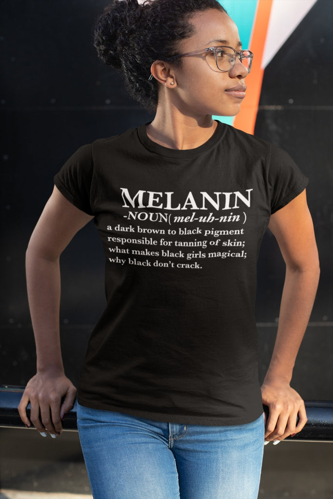 Melanin Definition Women's Tshirt Black - historically black apparel, hbcu,greek,black college,black athletes,black history,divine nine