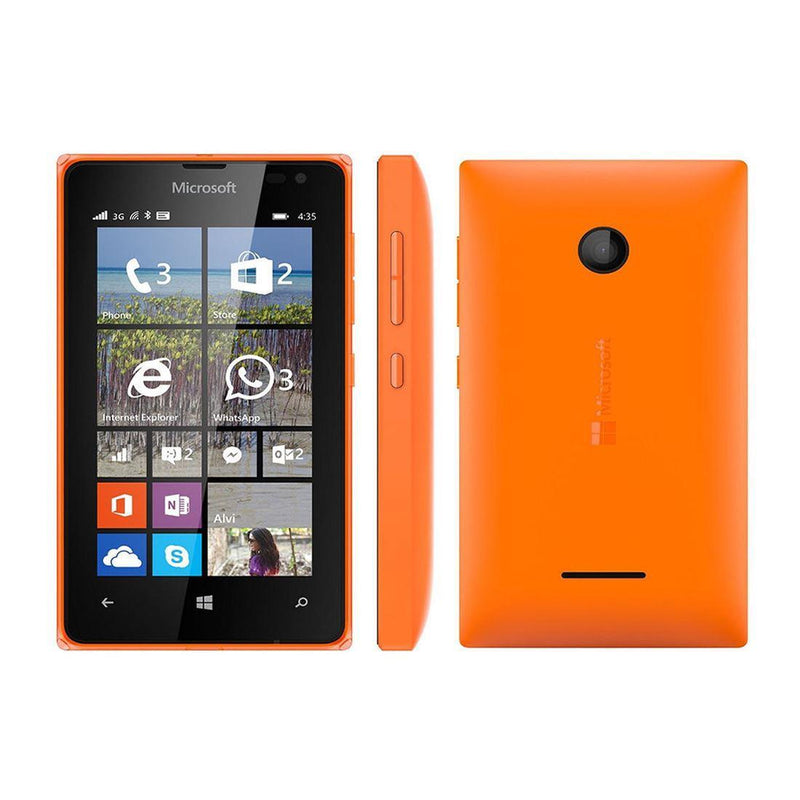 Good Condition Microsoft Lumia 435 Orange Dual Sim Unlocked Smartphone