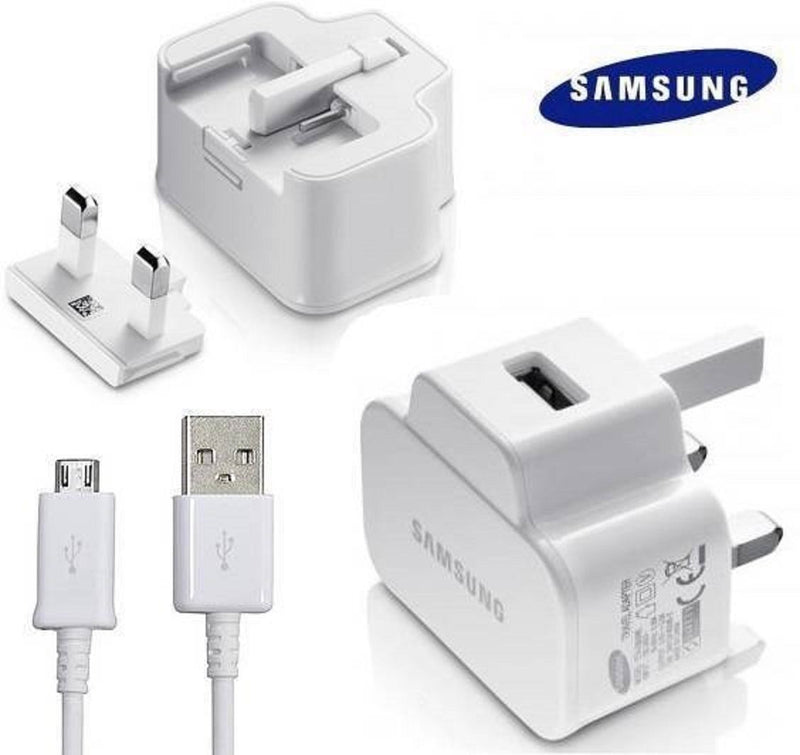 Genuine ETA0U71XBE Black White USB Cable + Wall Plug For Samsung Ace S4 J3 Note