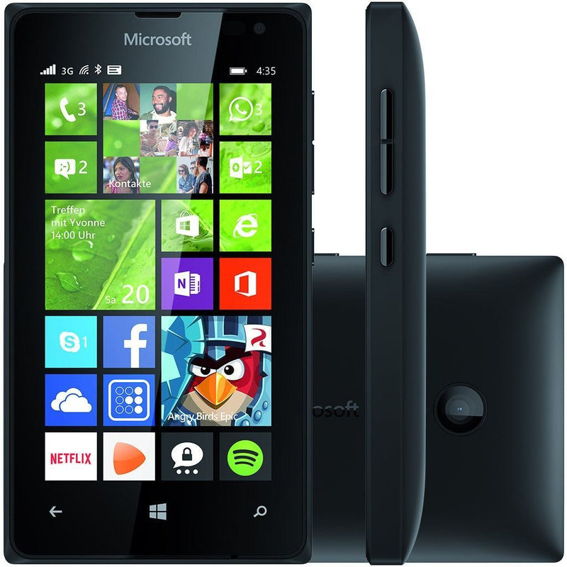 "Microsoft Lumia 435  8GB, 4"" Black (Unlocked) Smartphone Brand New Condition"