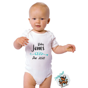 Baby Personalised Due Date Onesie