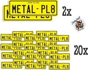 Metal Backed Number Plates - Pack (2 Number plates & 20 Stickers)