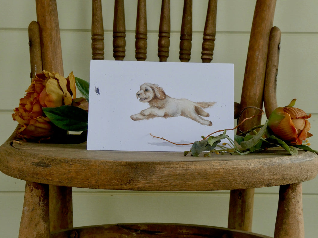 Happy dog watercolour card