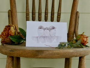 Three Little Wrens Greeting Card