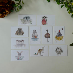 Australian animal watercolour card pack