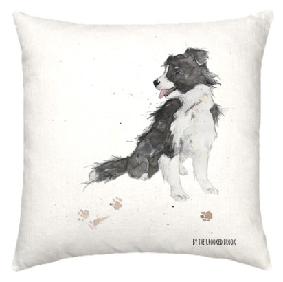 Linen cushion with border collie dog watercolour design