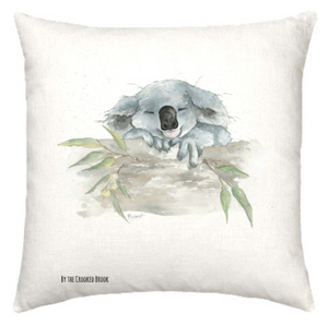 Linen cushion with Australian koala watercolour design