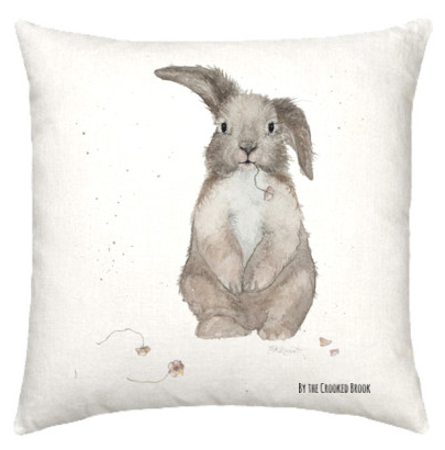 Linen cushion with whimsical rabbit watercolour design