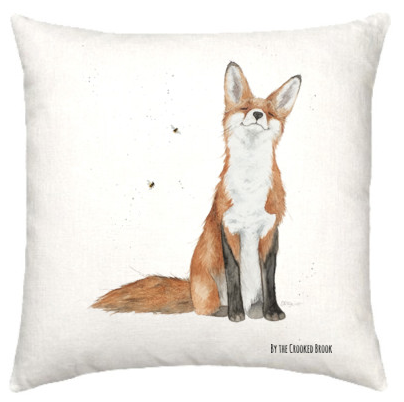 Linen cushion with smiling fox watercolour design