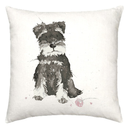 Linen cushion with cute Schnauzer dog watercolour design