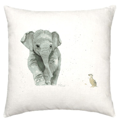 Linen cushion with baby elephant watercolour design