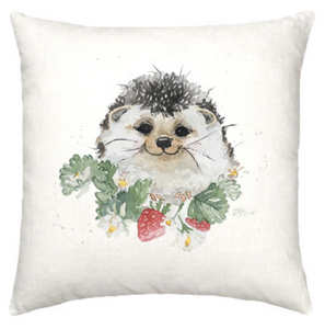 Linen cushion with adorable hedgehog watercolour design