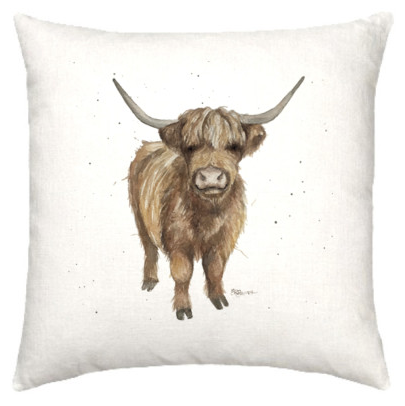Linen cushion with hairy highland cow watercolour design
