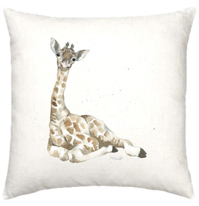 Linen cushion with baby giraffe watercolour design