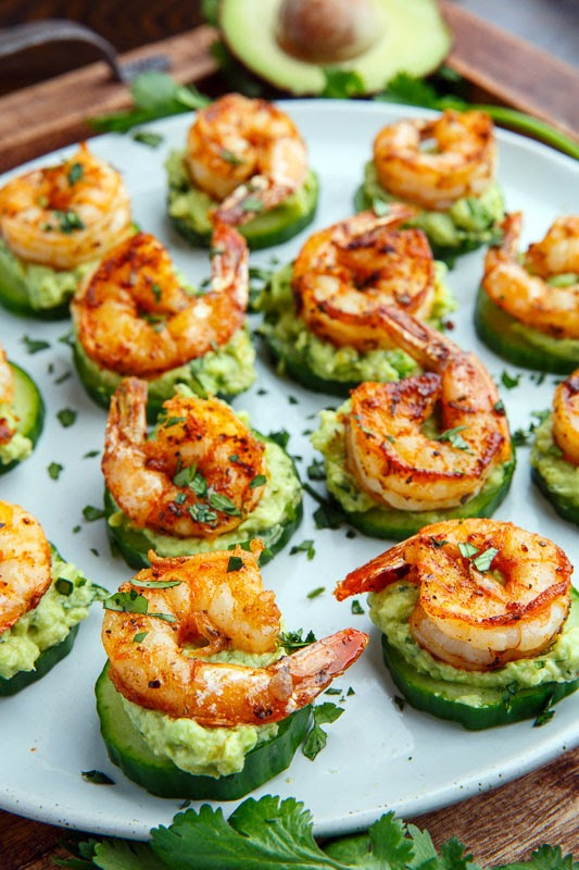 Blackened Shrimp Avocado Cucumber Bites