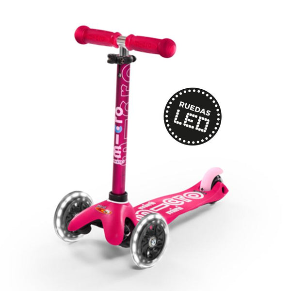 Scooter Mini Deluxe Con Luces Led - Rosado