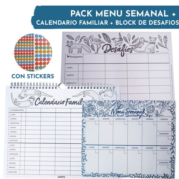 Pack Menú+ Desafíos+ Calendario Familiar