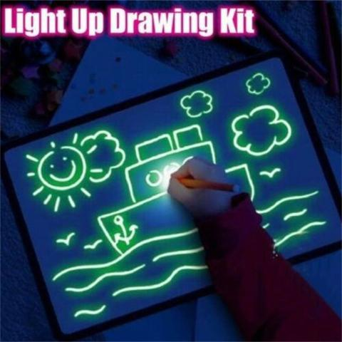 Luminous 3D Drawing Board With Light-Fun Fluorescent Pen - shopaholicsonlyco