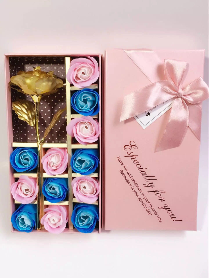 Timeless Pink Soap Rose Set + Gold Rose - shopaholicsonlyco