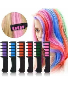6 Pcs/Set Temporary Hair Chalk Color Comb - shopaholicsonlyco