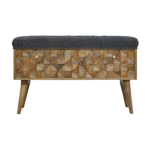 Diamond Carved Grey Tweed Storage Bench