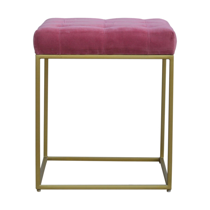 Pink Velvet Footstool with Gold Base