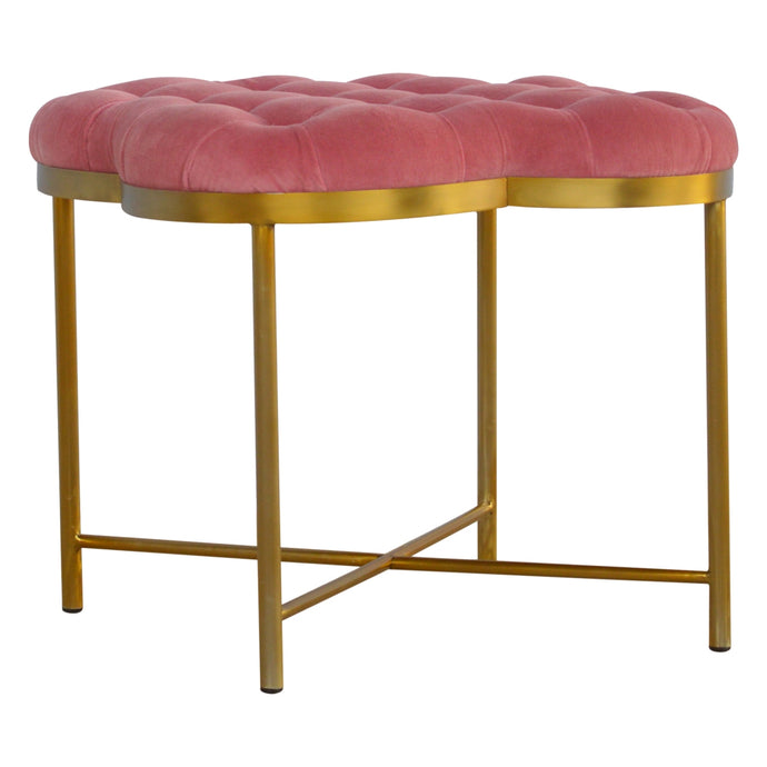 Pink Velvet Deep Button Footstool with Golden Base