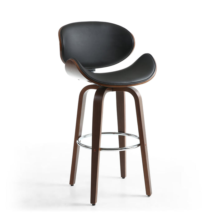 Torcello Leather Effect Black Bar Chair