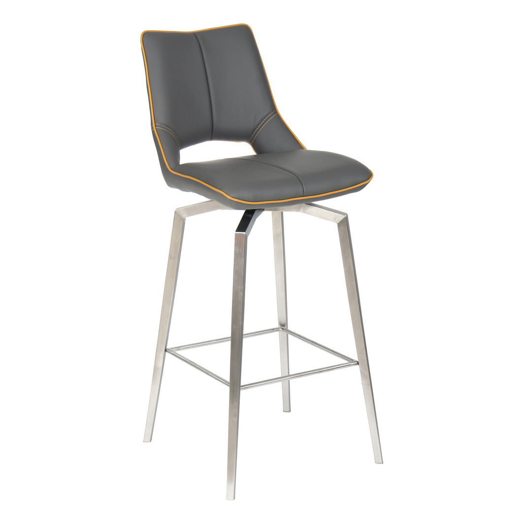 Mako Swivel Leather Effect Graphite Grey Bar Chair