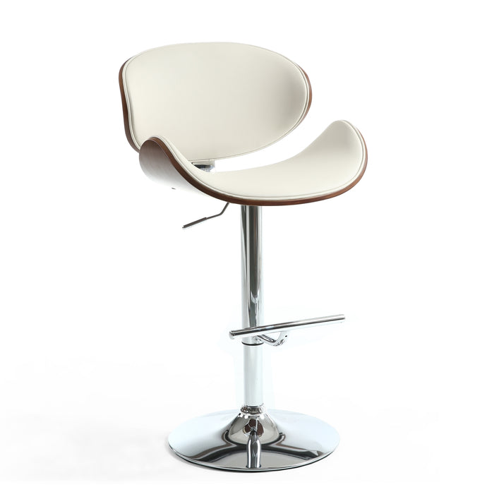 Hanna Walnut Leather Effect Cream Bar Stool