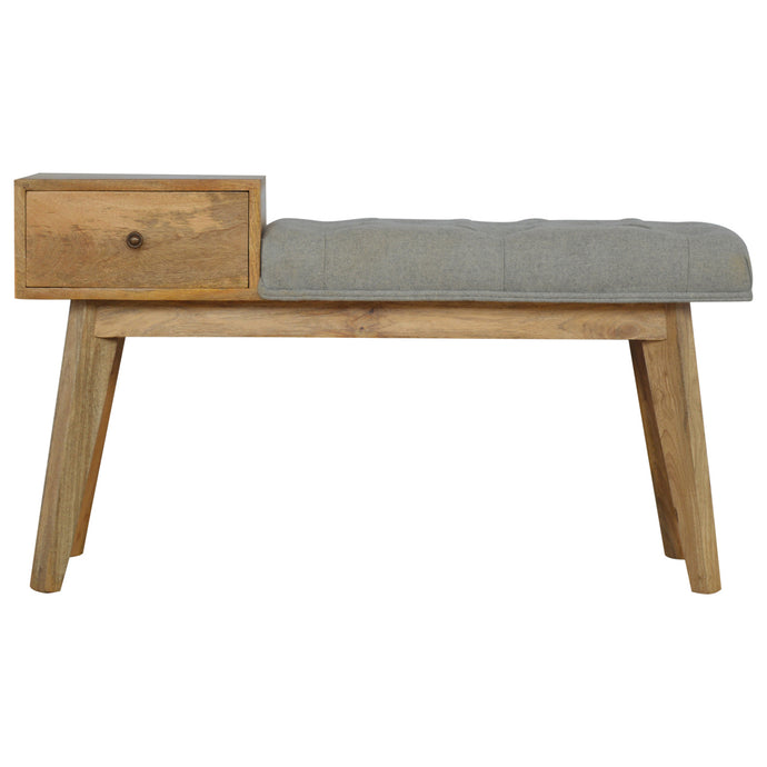 Fulton Grey Tweed Bench with 1 Drawer