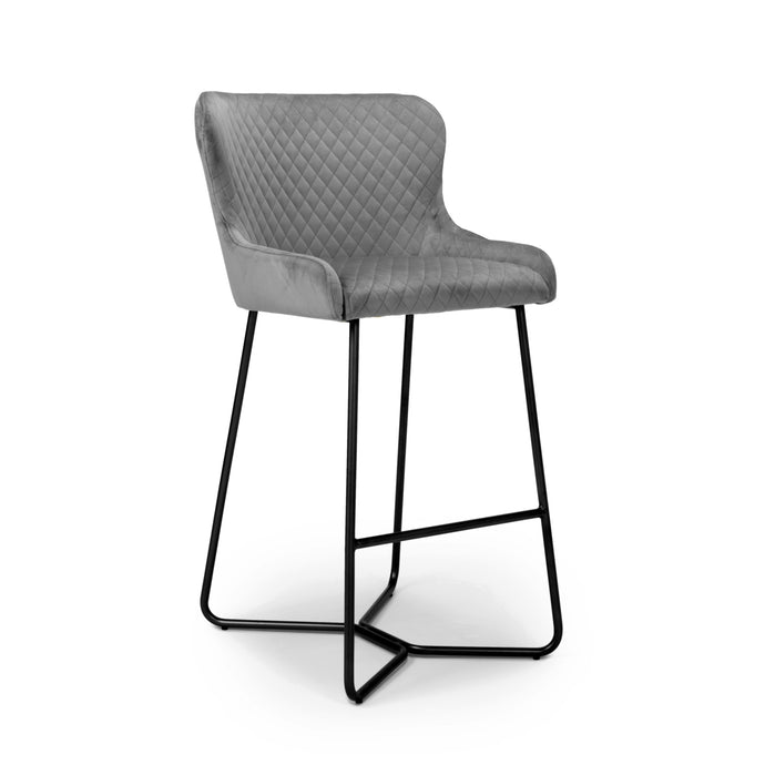 Quilted Brushed Velvet Grey Bar Stool