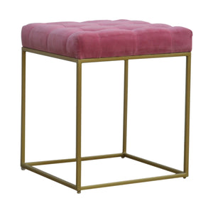 Stunner Pink Velvet Footstool with Gold Base