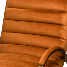 Load image into Gallery viewer, Burnt Orange And Brass Ribbed Ark Chair
