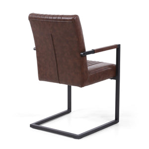 Archer Cantilever Leather Effect Brown Carver Chair