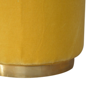 Mustard Velvet Footstool with Gold Base