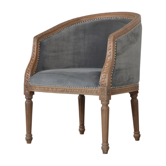 Samara Velvet Carved Chair