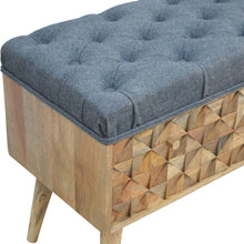 Load image into Gallery viewer, Diamond Carved Grey Tweed Storage Bench
