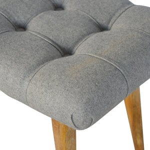 Curved Grey Tweed Bench