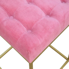 Load image into Gallery viewer, Stunner Pink Velvet Footstool with Gold Base