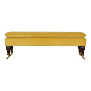 Porto Velvet Bench With Castor Feet