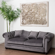 Load image into Gallery viewer, Oakland Grey Velvet Large Chesterfield Three Seater Sofa