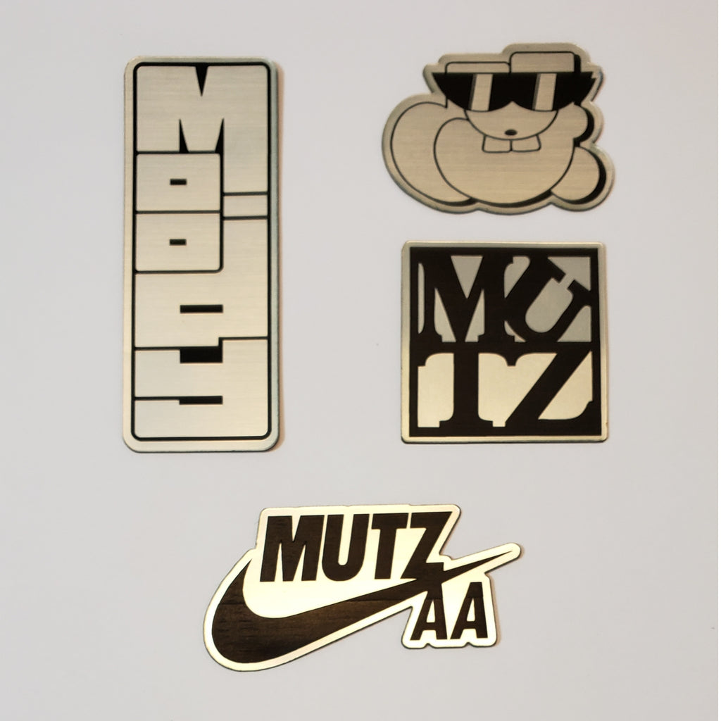 Brush Chrome lazor cut plastic sticker pack