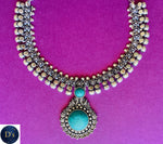 Turquoise imitation necklace (Oxidised metal)