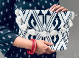 Clutch - cotton , purse, ladies , evening bag