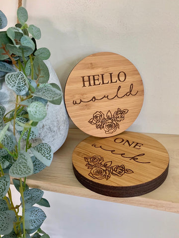 Plaque - Hello world ,New baby, Wood (Free Shipping)